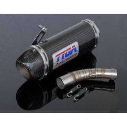 image: Exhaust set slip on, oval carbon silencer with cap, Honda MSX125